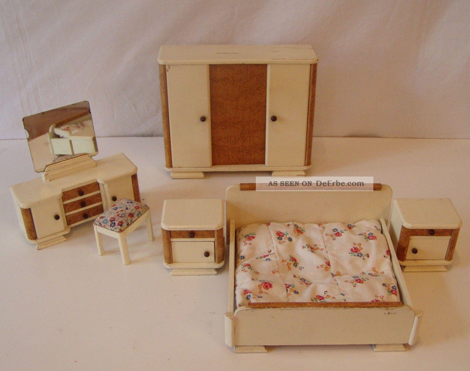 Schlafzimmer MÖbel 30er Jahre Puppenstube Puppenhaus PuppenmÖbel