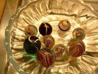 9 Murmeln Murmel Lauscha Abrissglass 13 - 24 Mm Vorzüglicher Bild