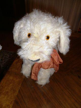 Antiker Hund Stofftierhund Mit Zunge Und Schleife Bild