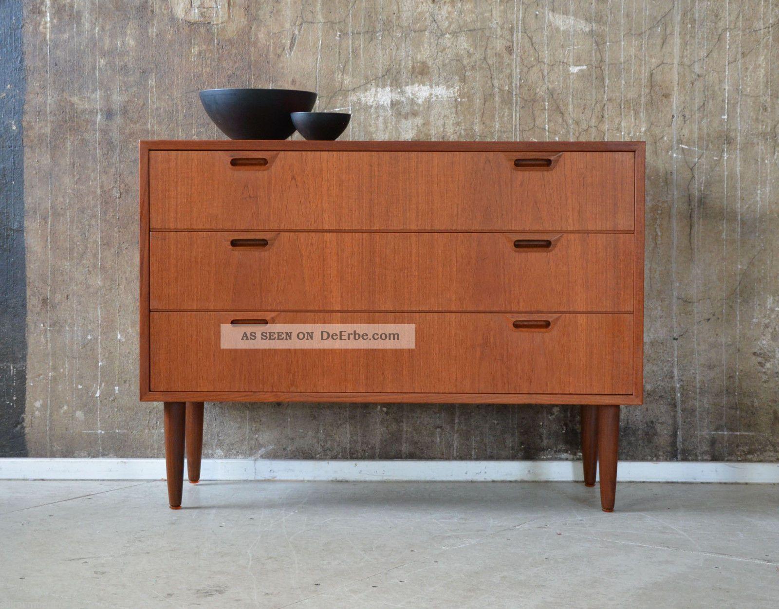 60er teak kommode danish design 60s teakwood cabinet chest of drawers sideboard. Black Bedroom Furniture Sets. Home Design Ideas