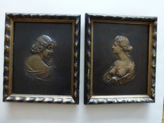 Zwei Jugendstil Bronzerelief