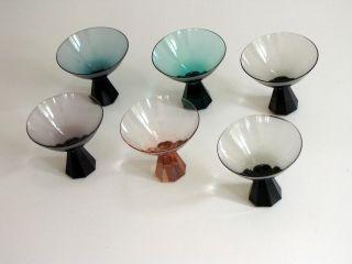 Friedrich Kristall Glas: 6 Likör Schalen,  Buntglas,  50er/ 60er,  Vintage,  60er, Bild