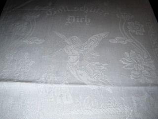 Jugendstil Handtuch Ziertuch Motiv Leinen Damast Kinder Mit Schutzengel U.  Spruch Bild