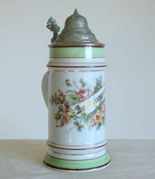 Alter Porzellankrug Mit Zinndeckel,  Um 1890,  Handbemalt U.  Mit Bodenbild Bild