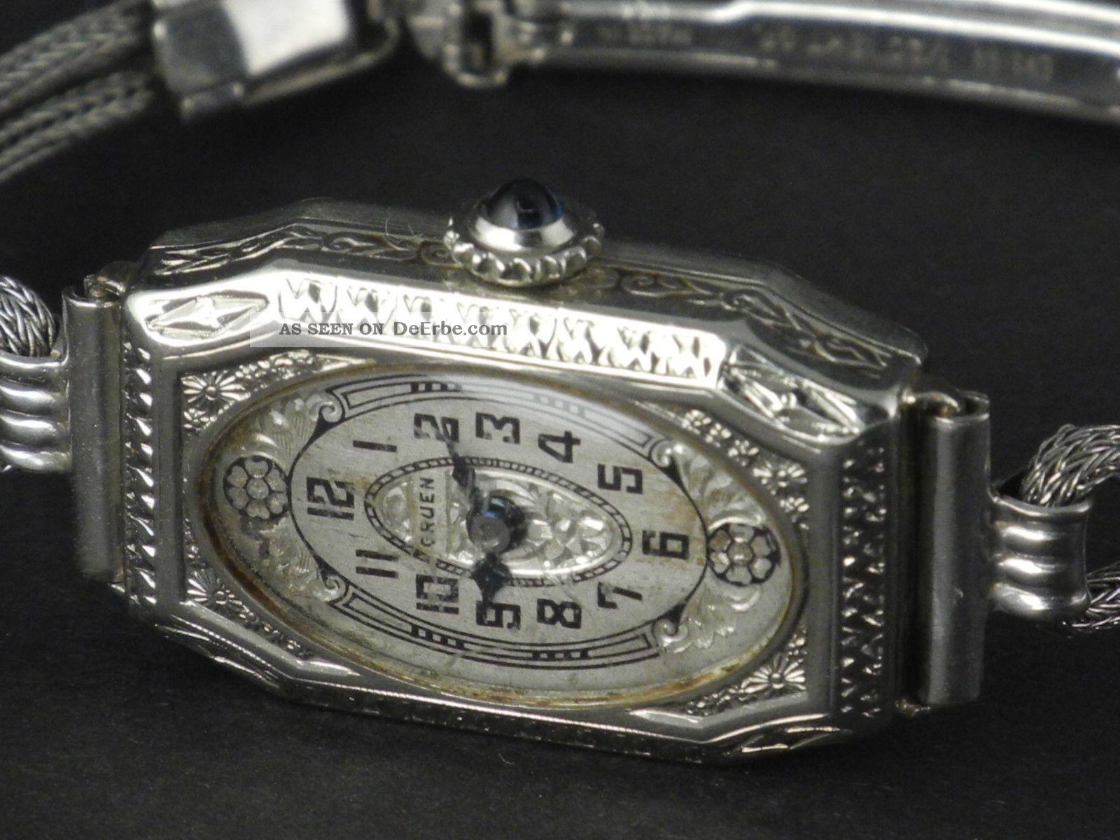 gruen jugendstil bzw art deco damen armbanduhr in sensationeller sch nheit 1920. Black Bedroom Furniture Sets. Home Design Ideas