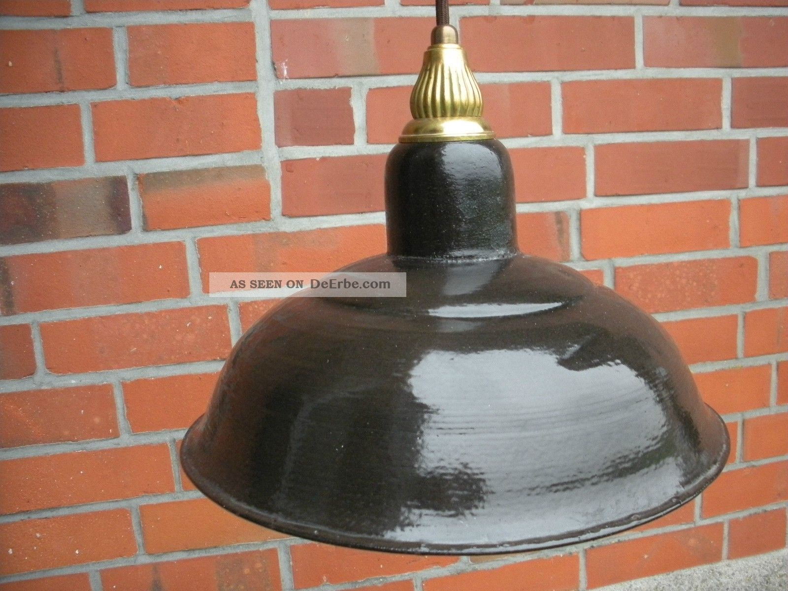 alte bauhaus art deco lampe deckenlampe emaille messing fassung loft industrie. Black Bedroom Furniture Sets. Home Design Ideas