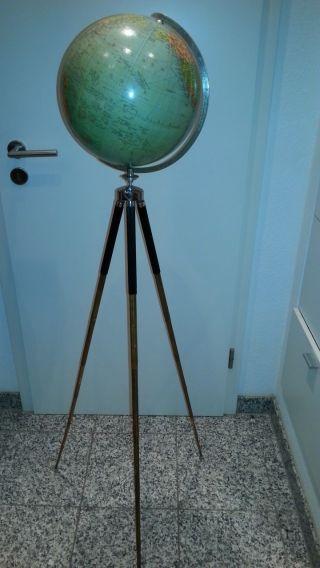 Großer Tripot Globus - - Stativ - Um 1950 - Columbus - Pappkugel Bis 180 Cm Hoch Bild