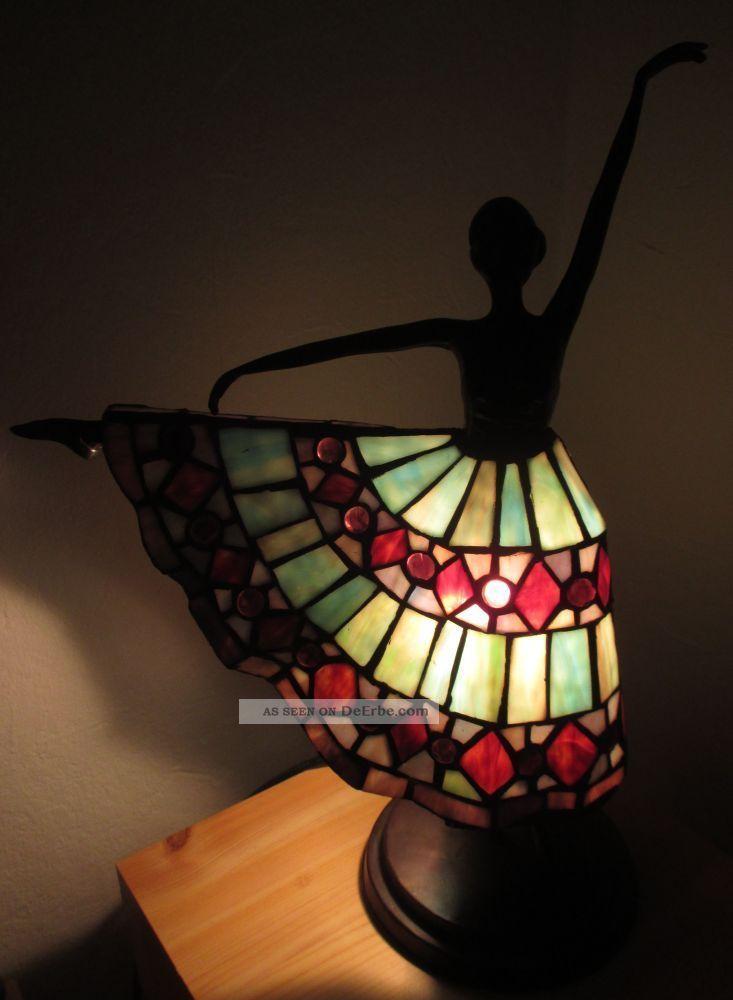 tischlampe im jugendstil tiffany lampe ballettt nzerin figur bronze. Black Bedroom Furniture Sets. Home Design Ideas