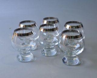 6 Cognacschwenker,  Cognacgläser,  Ingrid Glas Mit Silberrand Bild