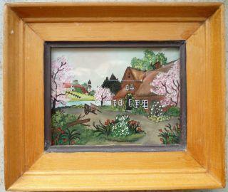 Hinterglasbild Reetgedecktes Haus Bach Frühling 15x13cm Echte Hinterglasmalerei Bild
