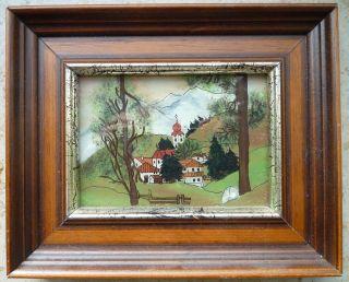 Hinterglasbild Dorf Kirche Gebirge Berge 18x15cm Echte Hinterglasmalerei Bild