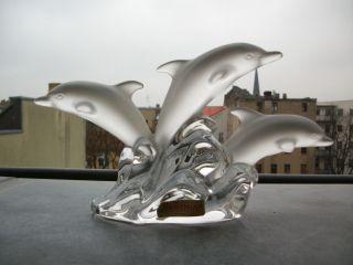 Skulptur Satiniert 3 Delfin Aus Kristall Glas Nachtmann Etikett Signiert Bild