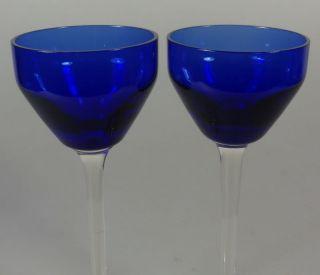 2 Antike Jugendstil Likörgläser Gläser Glas Likörglas Blau 14cm Hoch Um 1900 Bild