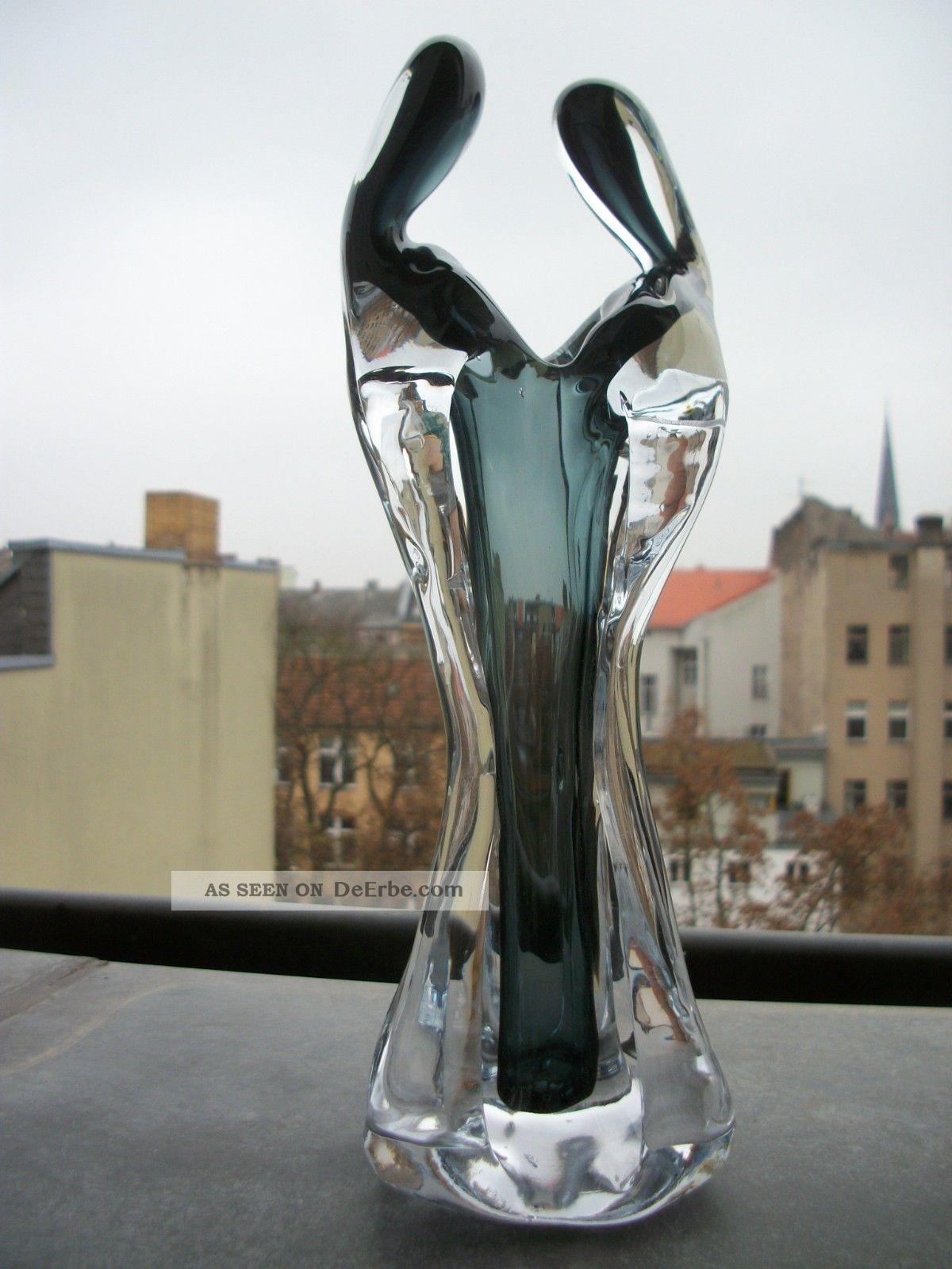 Xxl Murano Glas Skulptur Objekt Unikat Schwarzgrau Klar Glas