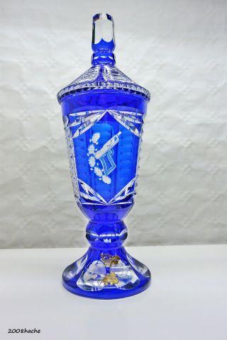 Bleikristall Glas Pokal Überfang Kobaltblau Hand Geschliffen 1,  5 Kg - Pistole Bild