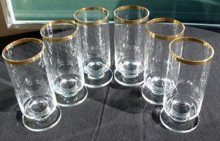 Stilvolle 6 Longdrinkgläser/wassergläser Mit Goldrand 0,  2l Vintage 70er Jahre Bild
