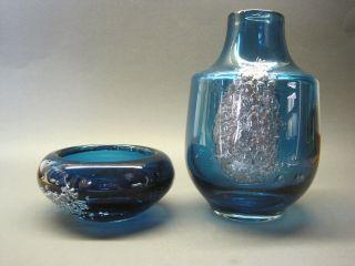 2 X Murano - Glas,  Alt,  Vase U Schale,  Blau,  Silberf.  Einschlüsse Maritim,  Meer Bild