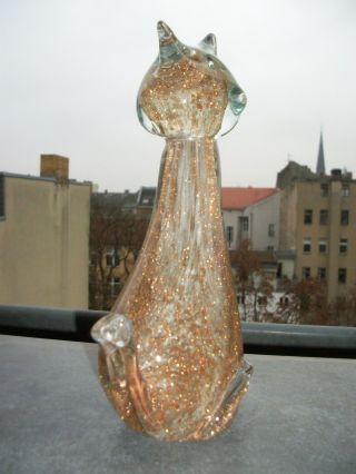 Xxl Murano Art Glas Skulptur Objekt Katze Aventurin Gold Unikat 1kg 350gr Bild