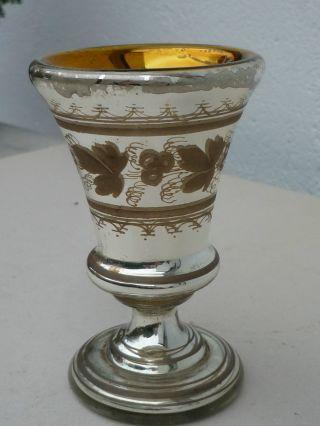 Bauernsilber Fußbecher Reicher Weinlaubdekor,  Innen Goldgelb Getönt,  Um 1880 Bild