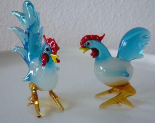 Hahn Und Huhn Aus Glas Vogel Aus Murano Glas 60er Jahre,  Glasfiguren Murano Bild