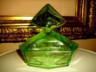 Alte Grüne Jugendstil Glas Deckedose Um 1920 Bild