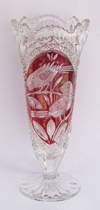 Vase,  Hofbauer,  Bleikristall / Kristall,  Rot,  Handarbeit,  26 Cm,  Wie Bild