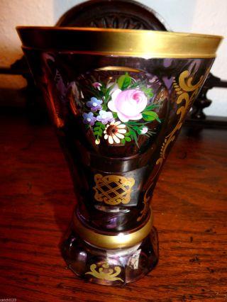 Ranftbecher M Poliergoldrand Violett Mit Floraler Emaille Malerei Überfang Glas Bild