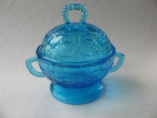 Alte Art Deco ? Deckeldose Bonboniere Pressglas Blau Glasdose Shabby Selten Bild