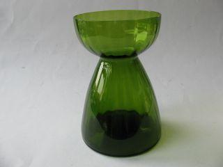 Altes Hyazinthenglas Hyazinthenvase Glas Vase Grün Geriffelt Sehr Gut Erhalten Bild