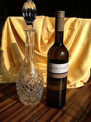 Bleikristall Wein Karaffe 36 Cm Hoch,  9,  5 Cm Breit Karreeschliff,  Handarbeit Bild
