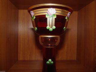Jugendstil Glas Kelch Pokal Weinglas M Wunderschöner Emaille Bemalung 23,  5 Cm Bild