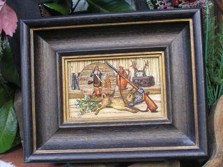 Dekoratives Hinterglasbild Glasmalerei Stilleben Jagdmotiv Signiert Riedl 1988 Bild