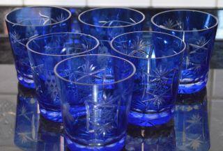 Whiskygläser Römer Traube 6 Stück Kobaltblau Traubenschliff Bild