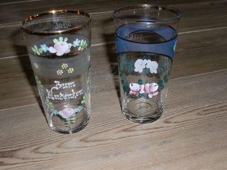 Glas Alt Emaille Goldrand Trinkglas Saftglas 2 Stück Antik Um 1920 Zum Andenken Bild
