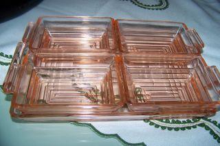 Rosèglas,  Salat Schüsselset Selten Viereckige Große Schale,  4 Kleine Viereckige Bild