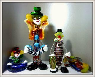 4 Murano Figuren,  Pracht Farbenspiel,  Großer Clown 34 U.  23 Cm 2x Aschenbecher Bild
