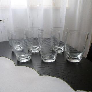 Alte Trinkgläser,  Wassergläser Mit Linien Schliffdekor 6 Stück Bild