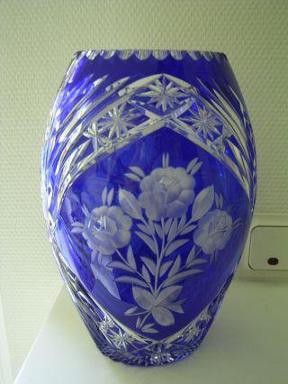 Große Kristallvase Vase Kristallglas Kristall Ca.  27 Cm Blau Edler Schliff Bild