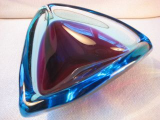 Murano Glasschale Um 1960 Cenedese ? Blau Rot Bild