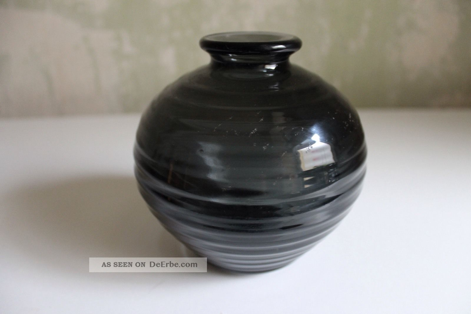 wagenfeld bauchige vase 1938 wv 82 rauchblaues dickwandig glas bauhaus design. Black Bedroom Furniture Sets. Home Design Ideas