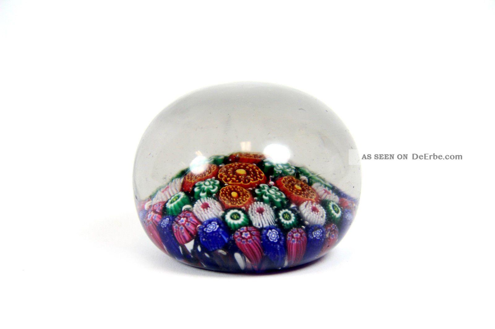 Sch ner briefbeschwerer aus glas b hmen bunte millefiori for Bunte lampenschirme aus glas
