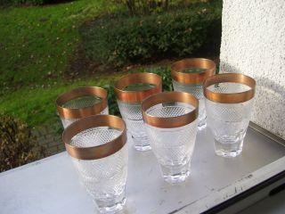 Josephinenhütte 6 Biergläser Wassergläser 10 Cm H Goldrand 1,  7 Cm Bild