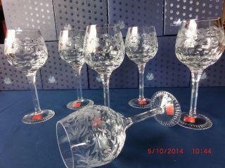 Weingläser,  6 Wein Gläser,  Lausitzer Glas,  Handgeschliffen Germany Etikett Bild