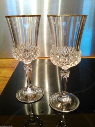 2 Sektkelche,  Bleikristall Mit Goldrand,  Sektflöte,  Sektglas Bild
