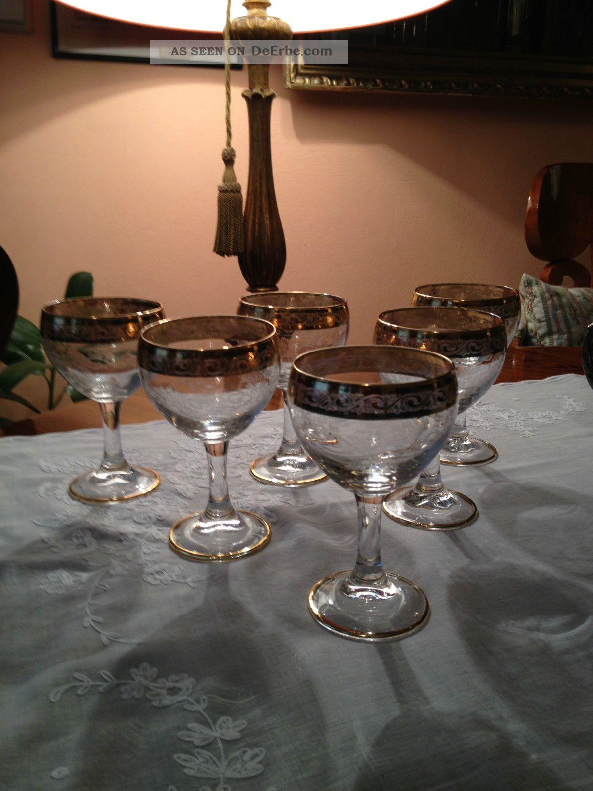 6 murano medici portwein gl ser dessertwein glas echt gold rand 1960. Black Bedroom Furniture Sets. Home Design Ideas