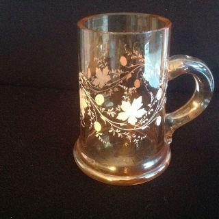 Seltener Henkelkrug Mit Emaillemalerei Weinlaub Auf Irisierendem Glas Um 1880 Bild