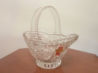 Schwere Bleikristallglas - Schale In Korbform Von
