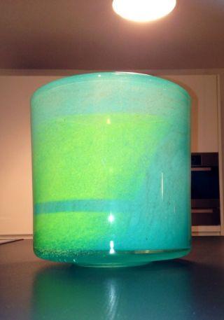 100 Orig.  Henry Dean Designer Vase Signiert  Aqua / Smaragd Grün Massiv Bild