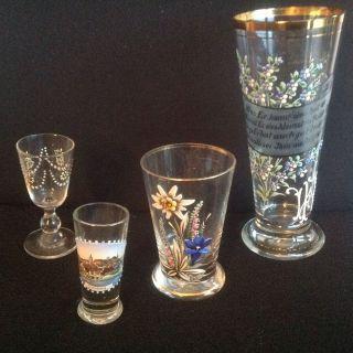 4 Teile Sammlerglas Mit Ausgefallen Schöner Emaillemalerei Um 1880 Bild