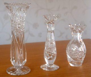 3 Wunderschöne Kristall Vasen Bleikristall Blumenvase Bild